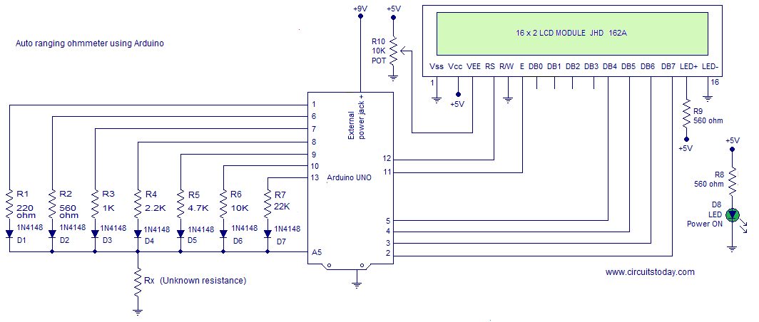 ohmmeter circuit using arduino measure resistance in lcd rh circuitstoday com simple digital ohmmeter circuit diagram series type ohmmeter circuit diagram
