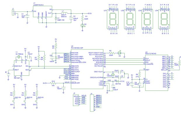 Digital Clock Circuit using PIC Micro Controller