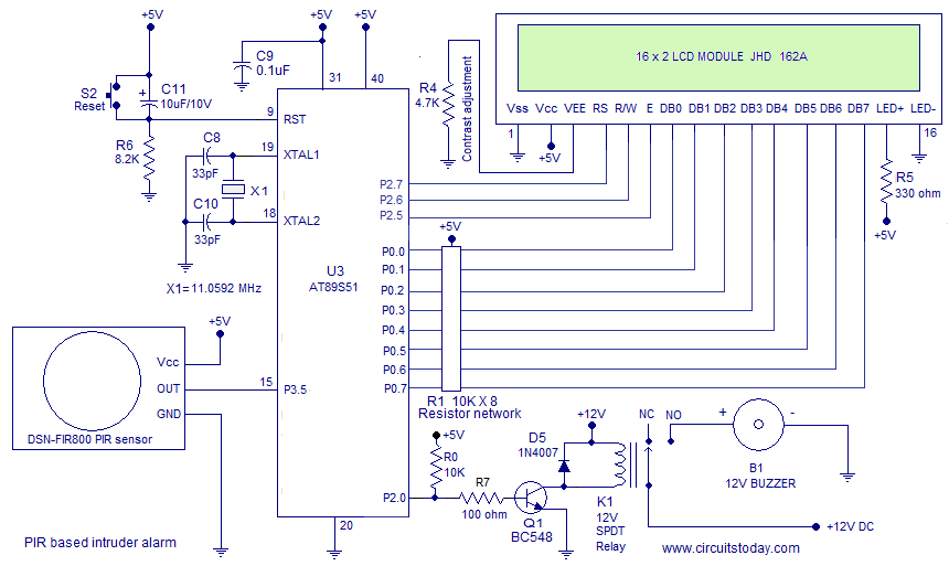 Interfacing Pir Sensor To 8051 Diy Intruder Alarm Circuit Using Pir