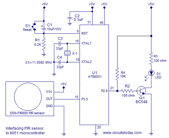 interfacing PIR sensor and 8051
