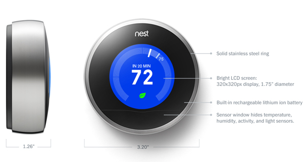 nest thermostat size