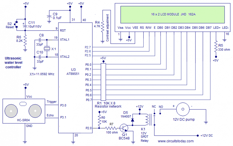 ultrasonic water level controller using 8051 measures water level