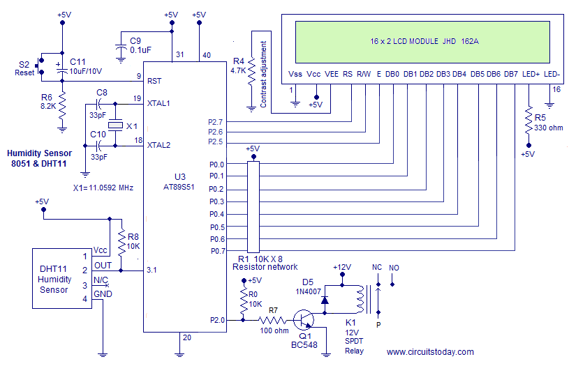 humidity sensor using 8051 micro controller measure humidity rh circuitstoday com Humidity Sensor for Circuit Board resistive humidity sensor circuit diagram