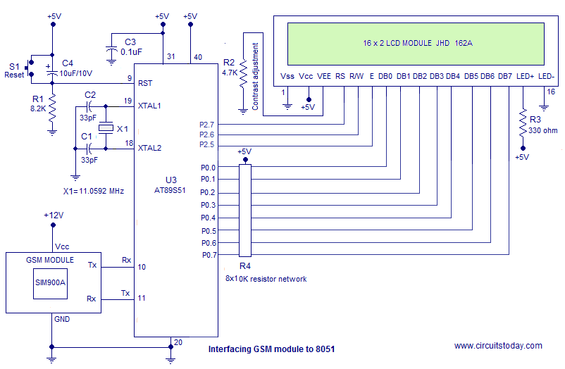 Interface GSM Module to 8051 Circuit Diagram