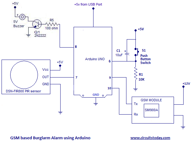 arduino burglar alarm using pir sensor with sms alarmgsm based arduino intruder alarm \u2013 circuit diagram
