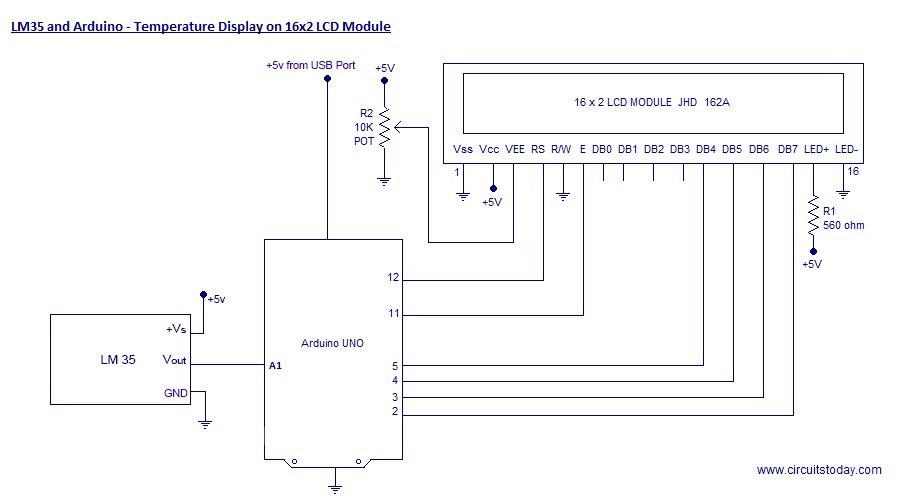 lm35 and arduino temperature display using lcd circuit diagram lm35 and arduino temperature display on 16×2 lcd