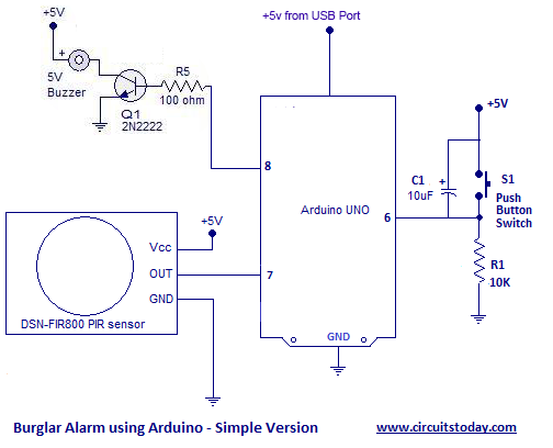 Burglar Alarm or Theft Alarm or Intruder Alarm using Arduino