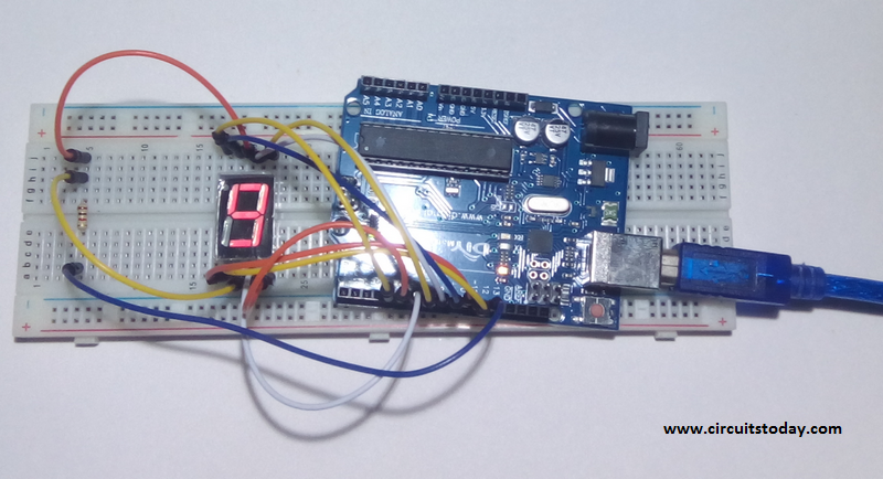 Single Digit 7 Segment Display to Arduino