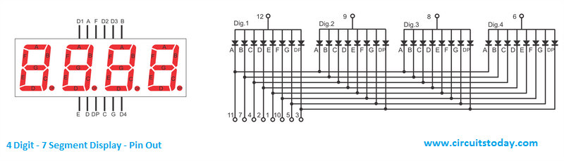 4 digit 7 segment Display Pin Out Diagram