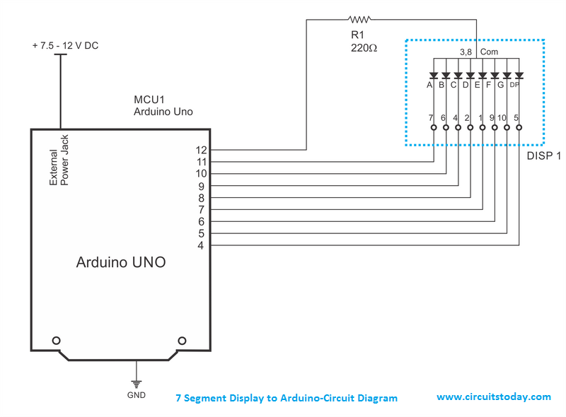 Circuit Diagram and Connection - 7 Segment Display to Arduino
