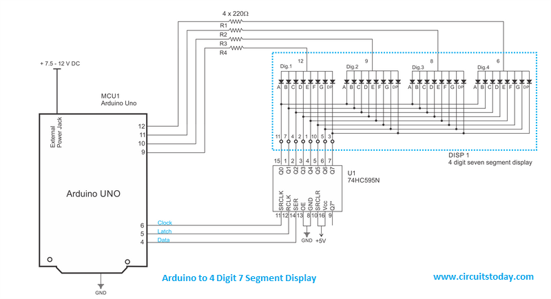 Arduino to 7 Segment Display Circuit Diagram