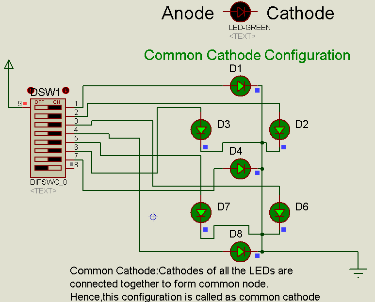 proteus tutorial using single and multiple digit segment displaysproteus led common cathode configuration