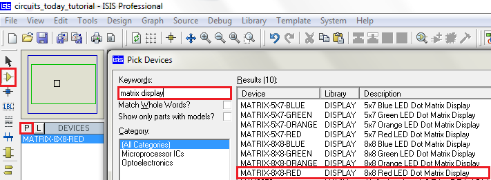 Selecting 8X8 Matrix in Proteus
