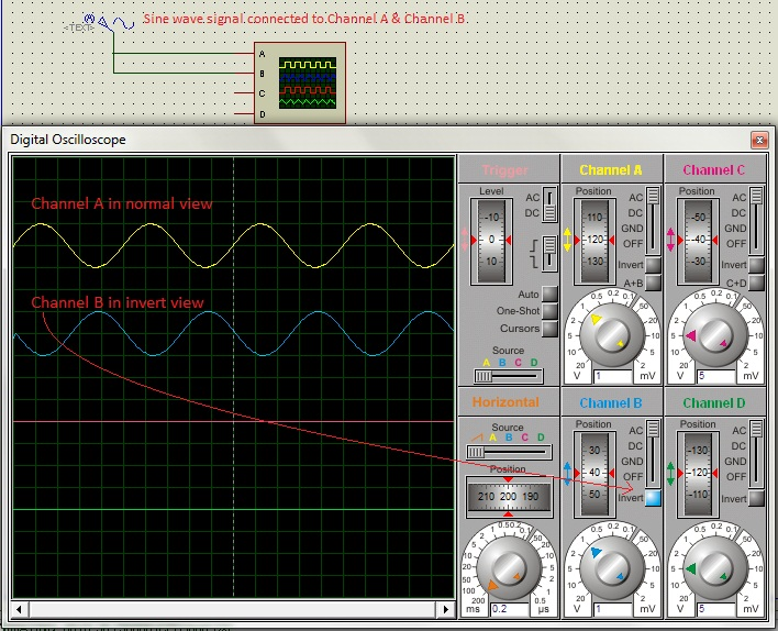 Invert option of Oscilloscope