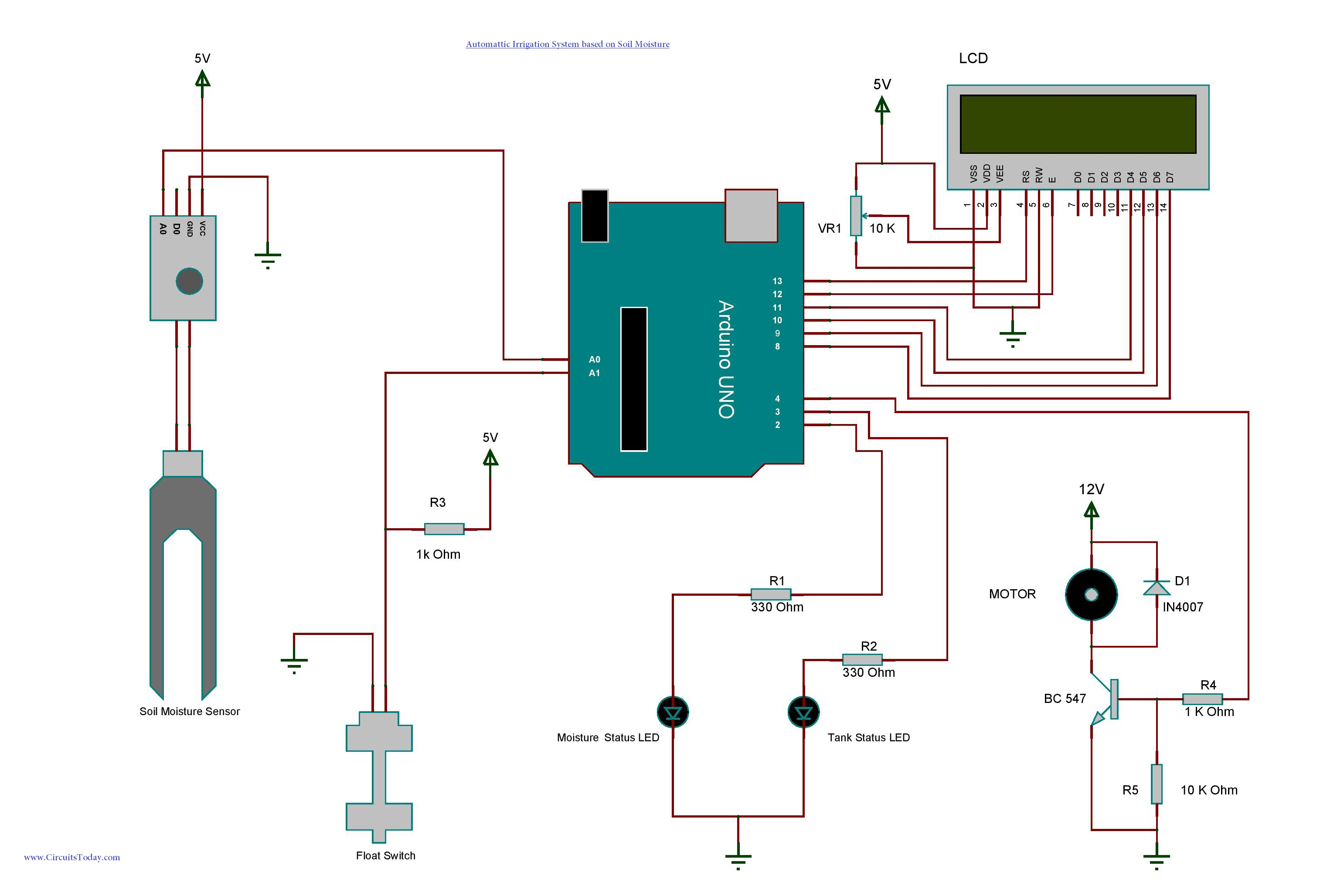 Arduino Irrigation And Automatic Plant Watering With Soil Moisture 8 Bit Comparator Circuit Diagram Sensor