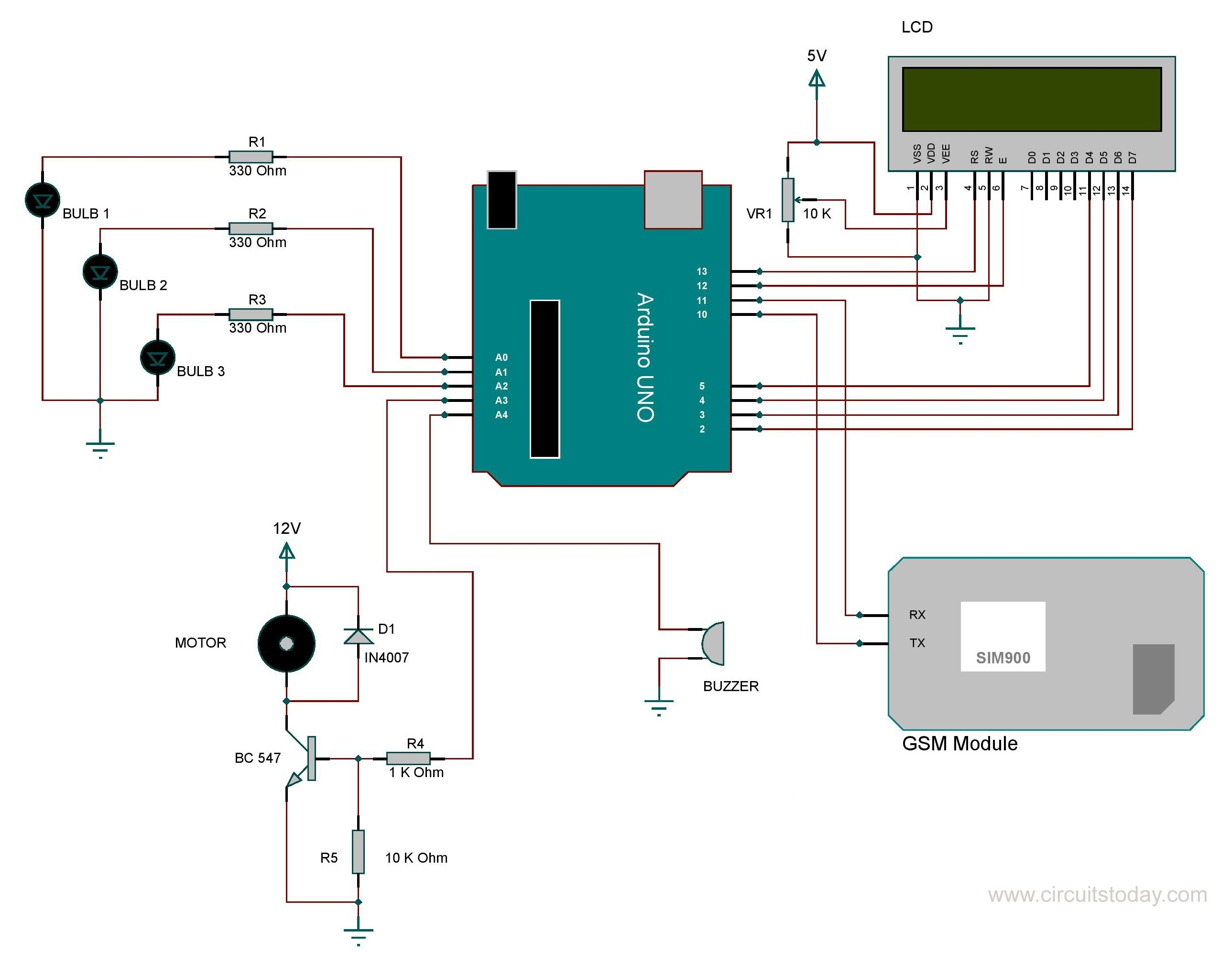 Arduino Home Automation Wiring Diagram Worksheet And Theater Subwoofer Using Gsm Module Rh Circuitstoday Com Speaker Diagrams