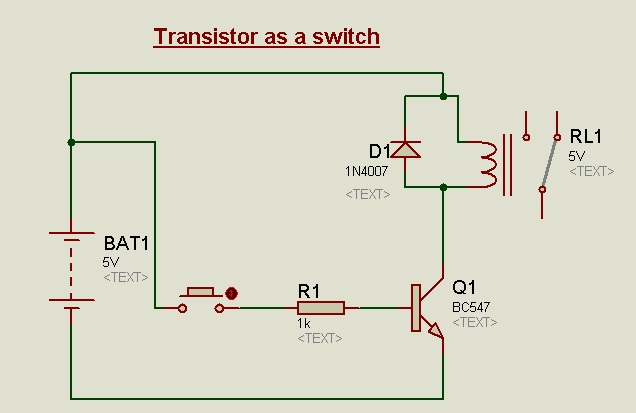 Circuit diagram for Transistor as a switch