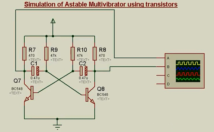 Circuit diagram for Astable multivibrator