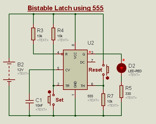 Bistable Latch using 555