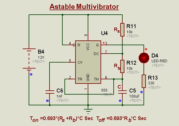 Astable Multivibrator using 555
