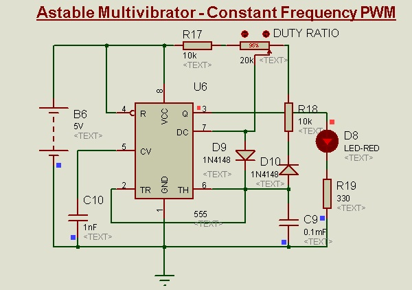 Constant frequency PWM Using 555-Timer