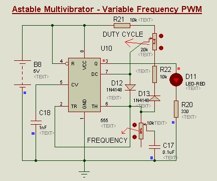 Variable frequency PWM Using 555-Timer