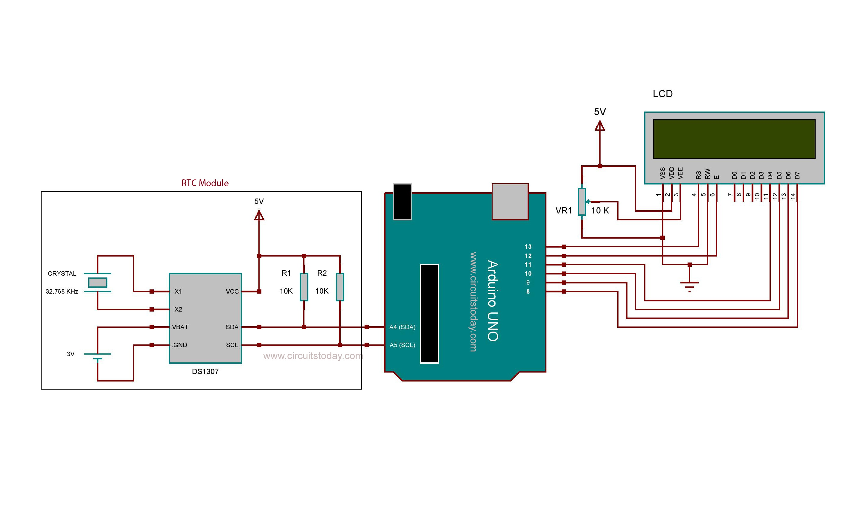 Arduino Real Time Clock Using Ds1307 Rtc Module Circuit Today Electronics Mini Projects Diagram Ask Home