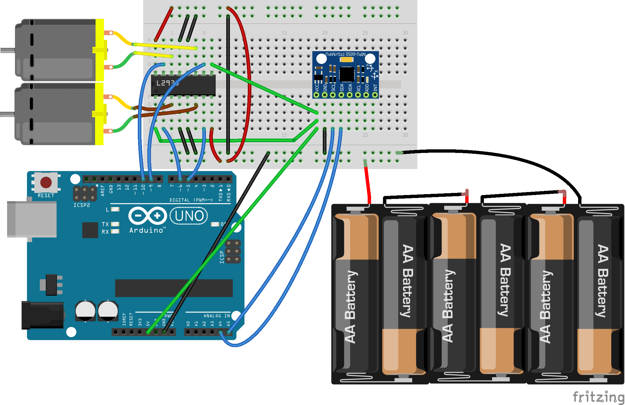DC Motor Speed Control using GY 521 Gyro/Accelerometer and