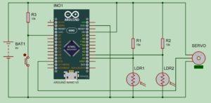 Arduino Solar Tracker - Circuit Diagram