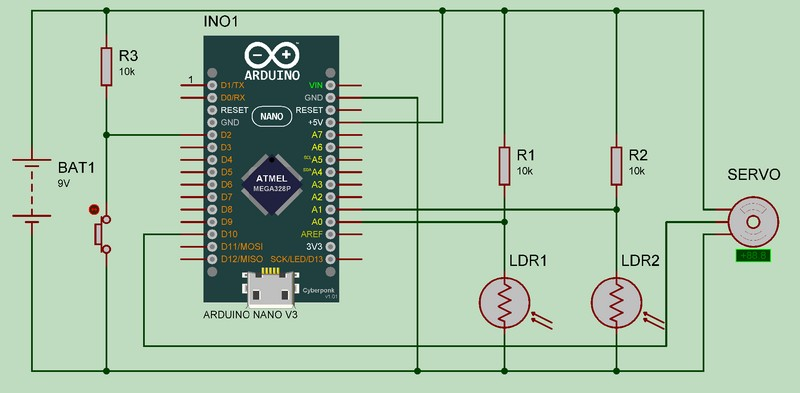 Arduino Solar Tracker - Circuit Diagram
