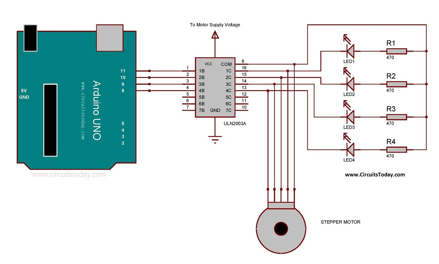 Arduino stepper motor interfacing using ic ul2003a circuit for Arduino and stepper motor