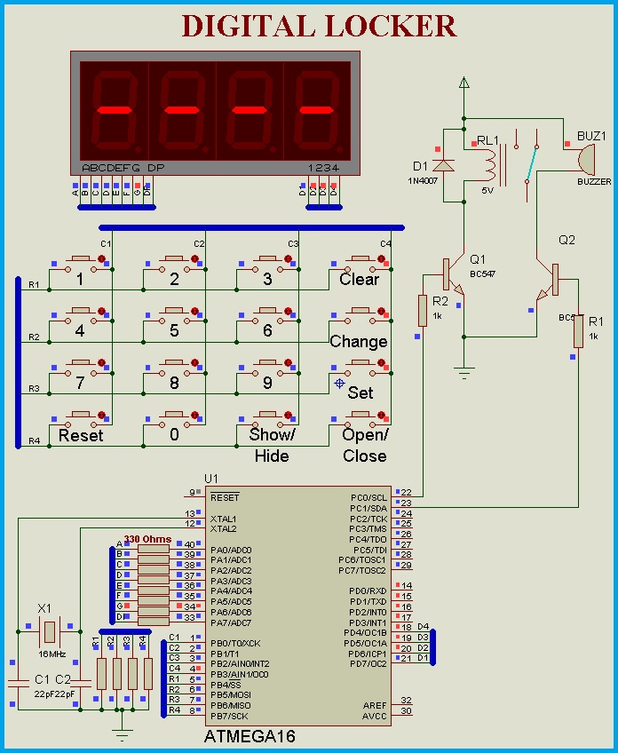 Circuit Diagram - Password Based Keypad Door Lock