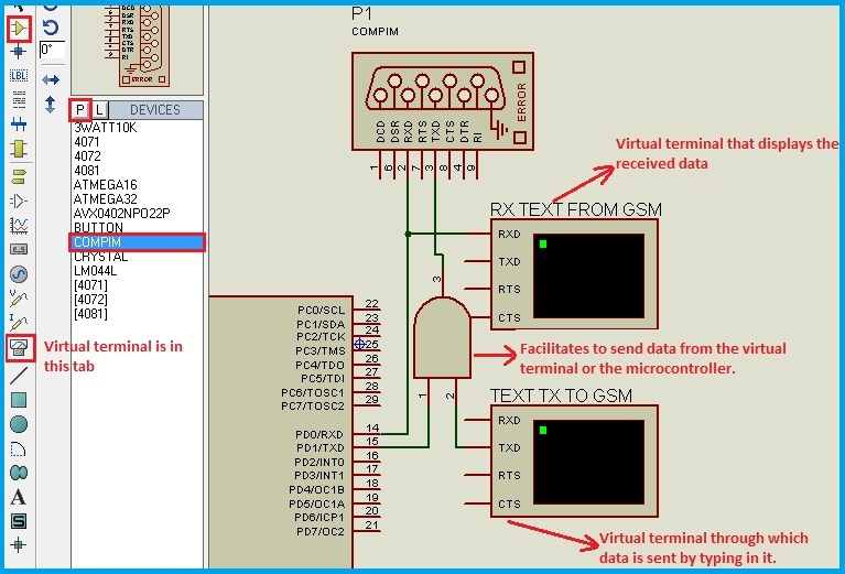 Circuit Diagram - Interfacing GSM Module Using Proteus