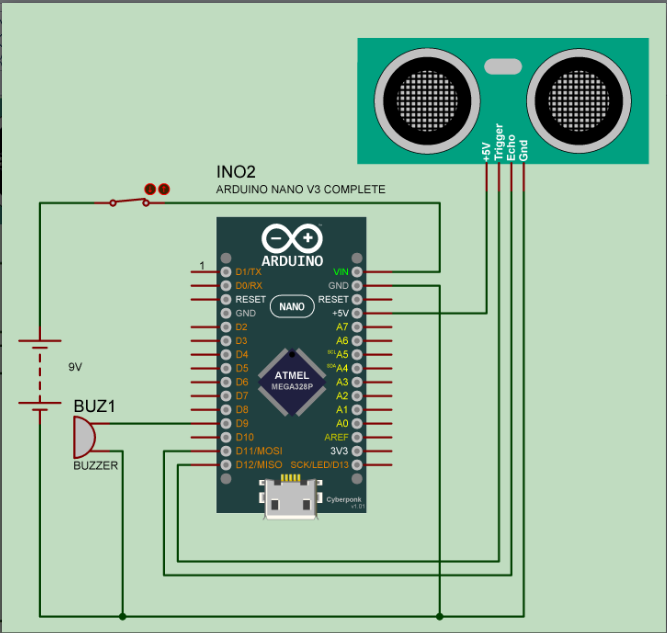 Ultrasonic Blind Walking Stick Using Arduino - Circuit Diagram