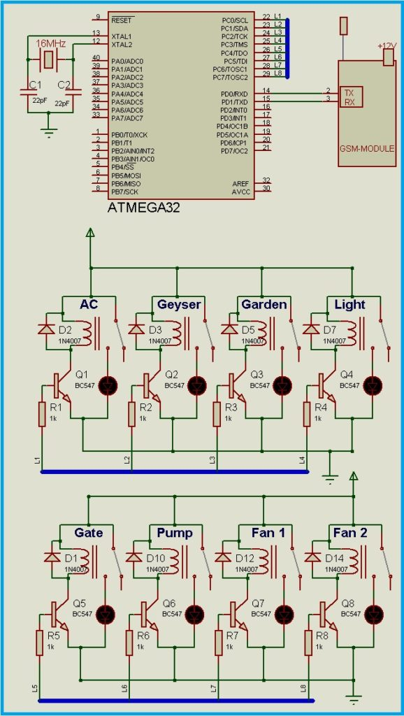 GSM Relay Control Board - Circuit Diagram