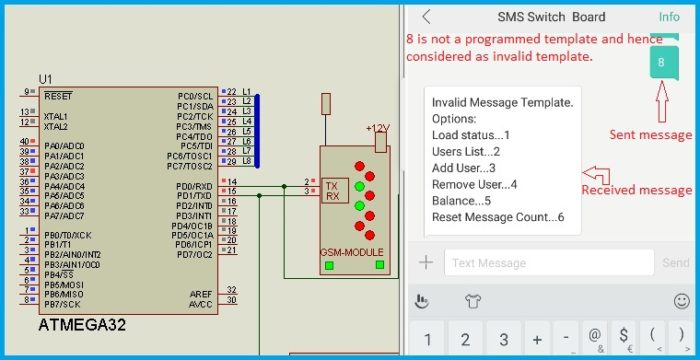 GSM Relay Control - Invalid message template notification