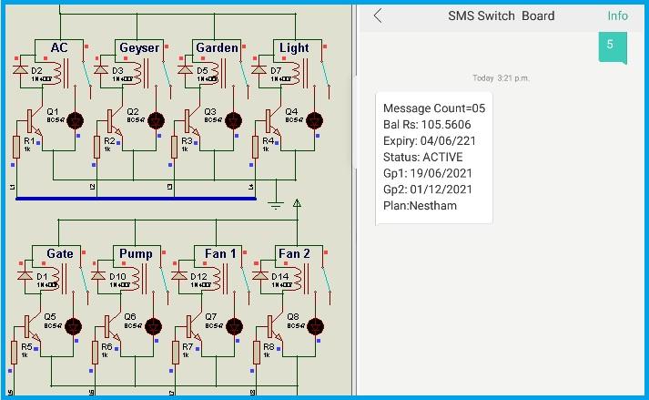 GSM Relay Control - SIM account statement