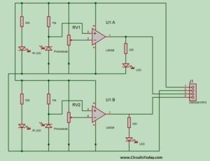 IR Pair using LM358 Op-Amp