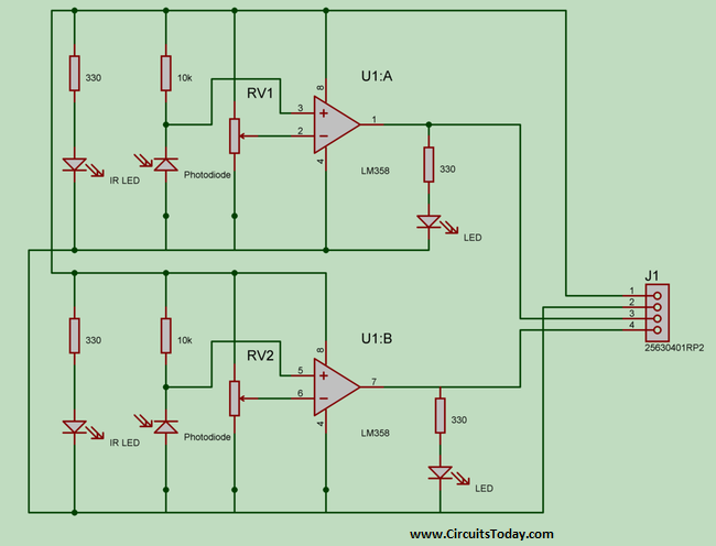 IR Pair using LM358 Op-Amp