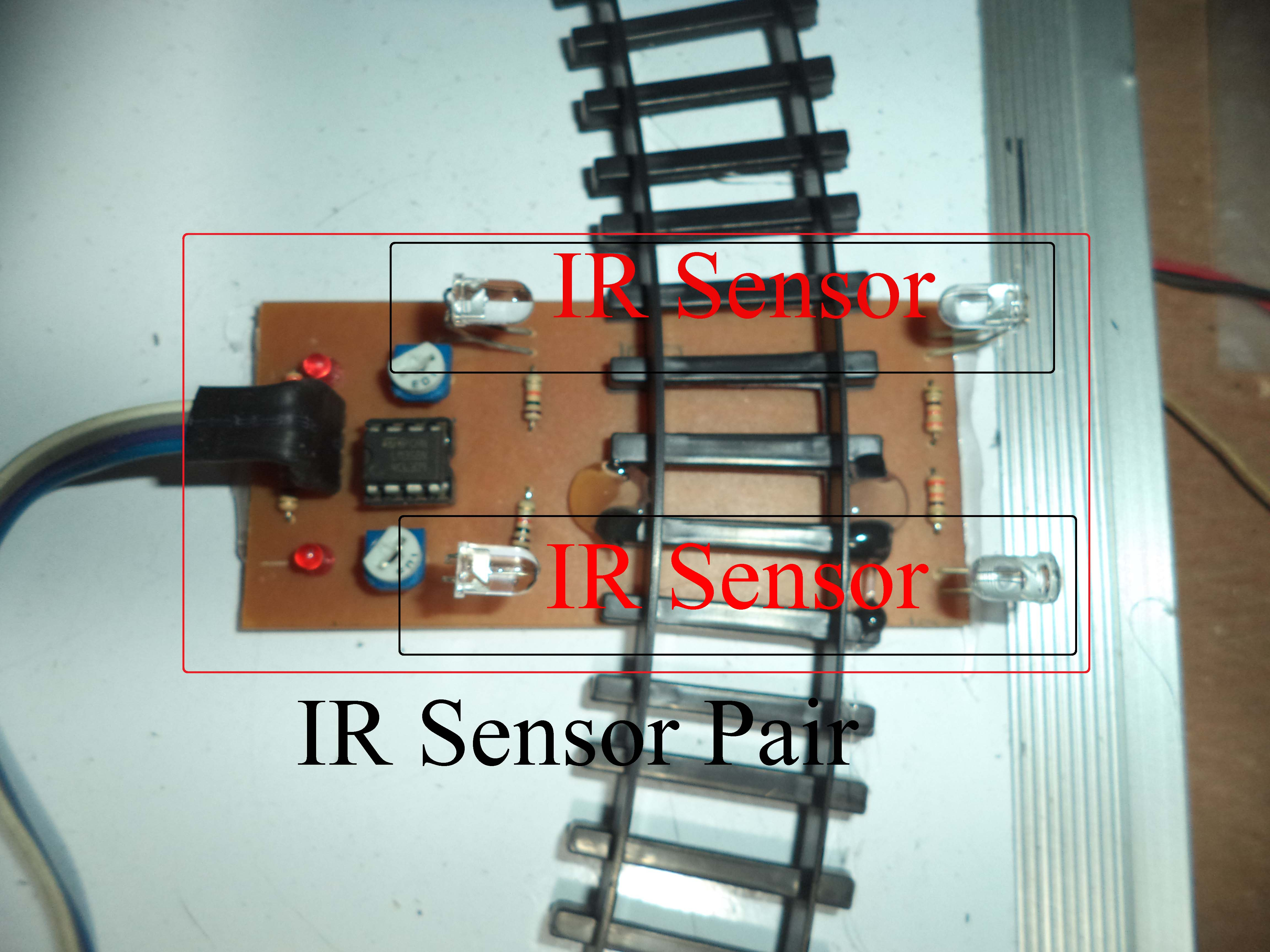 Automatic Railway Gate Control Using Arduino Ir Sensor Infrared Home Wiring Circuit Diagram Sensors Placed Along Track