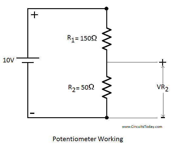 Potentiometer Circuit Diagram potentiometer working, circuit diagram, construction & types potentiometer wiring schematic at fashall.co