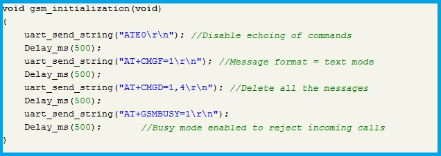 Program Code - GSM Initialization