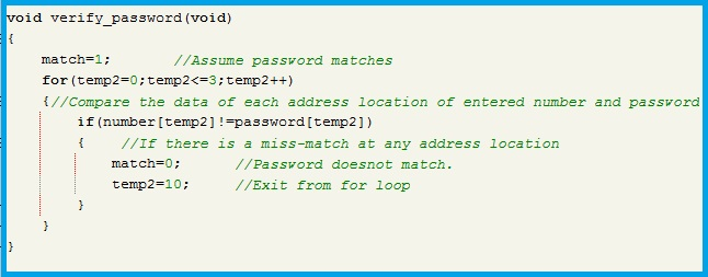 Program Code - Verification of the Entered Password