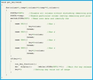 Program Code for 'get_key' function - 4X4 matrix keypad