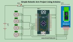 Simple Robotic Arm Project Using Arduino - Circuit Diagram