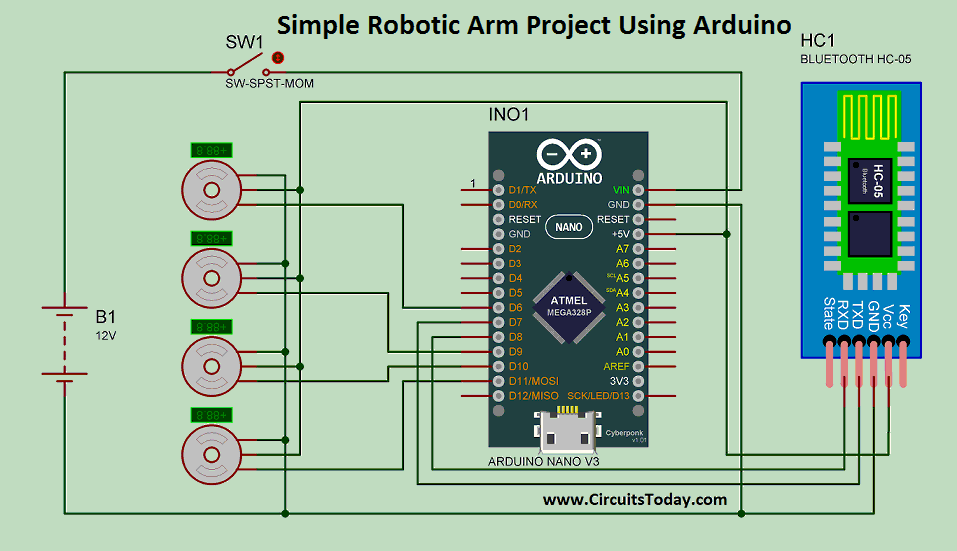 Simple Robotic Arm Project Using Arduino - Circuit Diagram