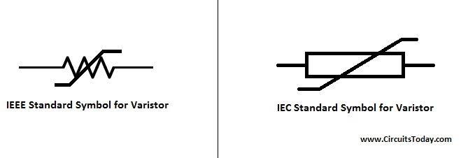 Varistor - Symbol, Working, Types and Applications on resettable fuse, variable inductor schematic symbol, electronic component schematic symbol, optoelectronics schematic symbol, solar cell schematic symbol, screw schematic symbol, capacitor schematic symbol, surge arrestor, diac schematic symbol, potentiometer schematic symbol, pin schematic symbol, ferrite core schematic symbol, gas filled tube, heatsink schematic symbol, or gate schematic symbol, electronic color code, load cell schematic symbol, surge suppressor schematic symbol, thermistor schematic symbol, electronic component, reactor schematic symbol, cable schematic symbol, crystal oscillator, thermocouple schematic symbol, inrush current limiter, shield schematic symbol, washer schematic symbol,