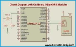 Car Tracking System - Circuit Diagram with On-Board GSM+GPS Modules