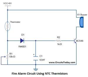 Fire Alarm Circuit Using NTC Thermistors