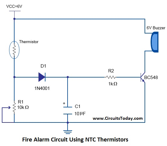 Fire Alarm Circuit Using NTC Thermistors